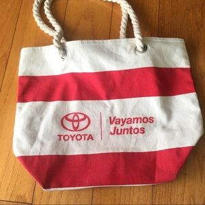 Handbags - Toyota canvas beach bag red and beige